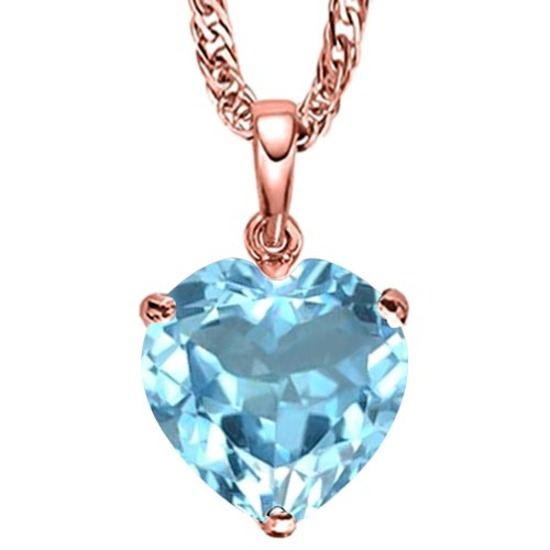 1.06 CARAT SKY BLUE TOPAZ 10K SOLID RED GOLD HEART SHAPE PENDANT