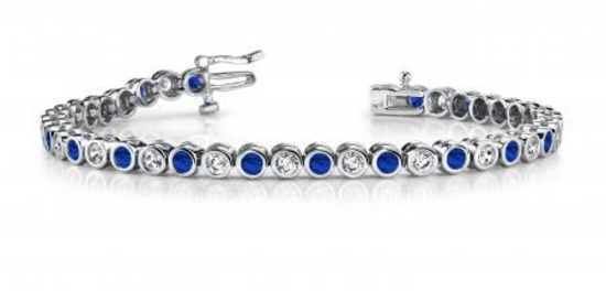 14KT WHITE GOLD 5 CTW G-H VS2/SI1 CLASSIC ROUND BEZEL SET DIAMOND & TANZANITE TENNIS BRACELET