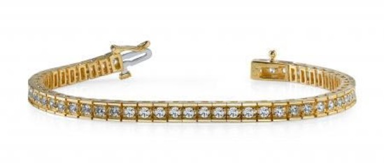 14KT YELLOW GOLD 2 CTW G-H VS2/SI1 BOX LINK DIAMOND TENNIS BRACELET