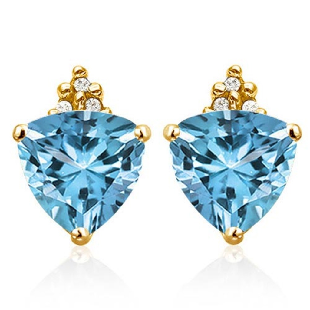 1.55 CARAT SKY BLUE TOPAZ 10K SOLID YELLOW GOLD TRILLION SHAPE EARRING WITH 0.03 CTW DIAMOND