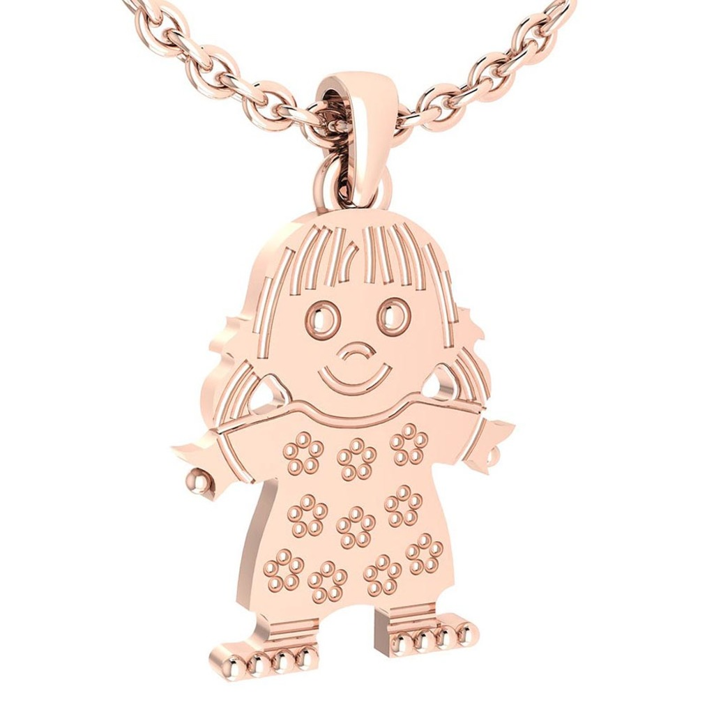 Little Baby Girl Gold MADE IN USA Charm Necklace 14K Rose Gold MADE IN ITALY