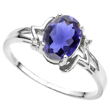 0.73 CT IOLITEE AND ACCENT DIAMOND 0.01 CT 10KT SOLID WHITE GOLD RING