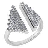 Certified 0.57 Ctw Diamond Ladies Fashion Ring 14k White Gold MADE IN USA (VS/SI1)