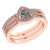 Certified 0.91 Ctw Diamond 14k Rose Gold Halo Anniversary Ring Made In USA