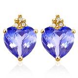2.75 CARAT LAB TANZANITE 10K SOLID YELLOW GOLD HEART SHAPE EARRING WITH 0.03 CTW DIAMOND