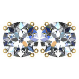 Certified 2.00 Ctw Diamond 14K Yellow Gold Stud Earring Made In USA