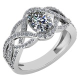Certified 1.79 Ctw Diamond VS/SI1 Halo Ring For 14K White Gold