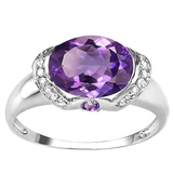 1.79 CT AMETHYST 0.1 CT AMETHYST AND ACCENT DIAMOND 0.09 CT 10KT SOLID WHITE GOLD RING
