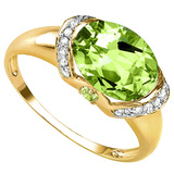 2.16 CT PERIDOT 0.1 CT PERIDOT AND ACCENT DIAMOND 0.09 CT 10KT SOLID YELLOW GOLD RING
