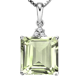 0.91 CTW GREEN AMETHYST 10K SOLID WHITE GOLD SQUARE SHAPE PENDANT WITH ANCENT DIAMONDS