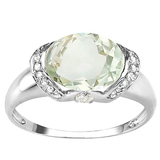 2.1 CT GREEN AMETHYST 0.07 CT WHITE TOPAZ AND ACCENT DIAMOND 0.09 CT 10KT SOLID WHITE GOLD RING