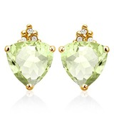 1.35 CARAT GREEN AMETHYST 10K SOLID YELLOW GOLD TRILLION SHAPE EARRING WITH 0.03 CTW DIAMOND