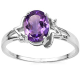1.10 CT AMETHYST AND ACCENT DIAMOND 0.01 CT 10KT SOLID WHITE GOLD RING