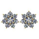 Certified 1.86 Ctw Diamond 14k Yellow Gold Halo Stud Earrings