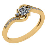 Certified 0.51 Ctw Diamond 14k Yellow Gold Halo Promise Ring Made In USA