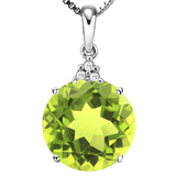 0.85 CTW PERIDOT 10K SOLID WHITE GOLD ROUND SHAPE PENDANT WITH ANCENT DIAMONDS