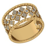Certified 0.58 Ctw Diamond Ladies Fashion Engagement 14k Yellow Gold MADE IN USA Halo Ring MADE IN U