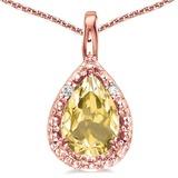 0.38 CARAT CITRINE & 0.01 CTW DIAMOND 14KT SOLID RED GOLD PENDANT
