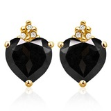 2.0 CARAT BLACK SAPPHIRE 10K SOLID YELLOW GOLD HEART SHAPE EARRING WITH 0.03 CTW DIAMOND