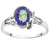 0.89 CT OCEANIC BLUE MYSTIC QUARTZ AND ACCENT DIAMOND 0.01 CT 10KT SOLID WHITE GOLD RING