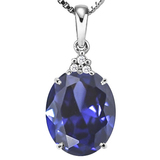 1.23 CTW CREATED TANZANITE 10K SOLID WHITE GOLD OVAL SHAPE PENDANT WITH ANCENT DIAMONDS