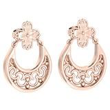 Gold Follower Stud Earrings 14K Rose Gold Made In Italy