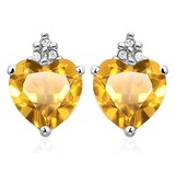 1.3 CARAT CITRINE 10K SOLID WHITE GOLD HEART SHAPE EARRING WITH 0.03 CTW DIAMOND