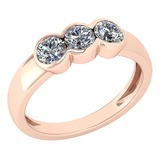 Certified 0.69 Ctw Diamond Ladies Fashion Promise Ring MADE IN USA14k Rose Gold MADE IN USA (VS/SI1)