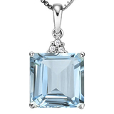 1.33 CTW SKY BLUE TOPAZ 10K SOLID WHITE GOLD SQUARE SHAPE PENDANT WITH ANCENT DIAMONDS