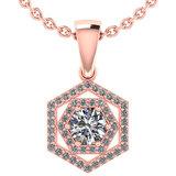 Certified 0.69 Ctw Diamond 14k Rose Gold Halo Pendant