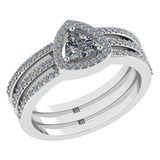 Certified 0.91 Ctw Diamond 14k White Gold Halo Anniversary Ring Made In USA