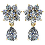 Certified 4.86 Ctw Diamond 14k Yellow Gold Halo Dangling Earrings