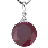 1.19 CTW RUBY 10K SOLID WHITE GOLD ROUND SHAPE PENDANT WITH ANCENT DIAMONDS