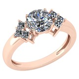 Certified 1.61 Ctw Diamond VS/SI2 Ladies Fashion Engagement 14k Rose Gold MADE IN USA Halo Ring MADE