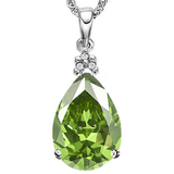 0.58 CTW PERIDOT 10K SOLID WHITE GOLD PEAR SHAPE PENDANT WITH ANCENT DIAMONDS