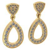 Certified 0.62 Ctw Diamond VS/SI1 Hangling Stud Earring 18K Yellow Gold Made In USA