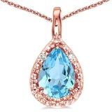 0.51 CARAT SKY BLUE TOPAZ & 0.01 CTW DIAMOND 14KT SOLID RED GOLD PENDANT