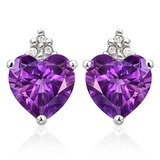 1.6 CARAT AMETHYST 10K SOLID WHITE GOLD HEART SHAPE EARRING WITH 0.03 CTW DIAMOND