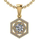 Certified 0.69 Ctw Diamond 14k Yellow Gold Halo Pendant