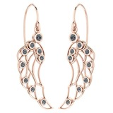 Certified 0.44 Ctw Diamond VS/SI1 Wire Hook Earrings 18K Rose Gold Made In USA