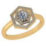 Certified 0.69 Ctw Diamond 14k Yellow Gold Halo Ring