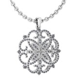 Certified 1.13 Ctw Diamond VS/SI1 Necklace For 14K White Gold