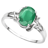 1.10 CT EMERALD AND ACCENT DIAMOND 0.01 CT 10KT SOLID WHITE GOLD RING