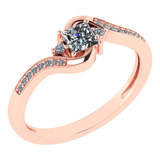Certified 0.51 Ctw Diamond 14k Rose Gold Halo Promise Ring Made In USA