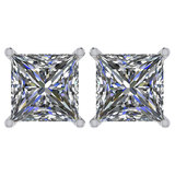Certified 2.50 Ctw Diamond 14K White Gold Stud Earring Made In USA