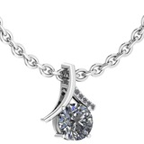 Certified 0.89 Ctw Diamond VS/SI1 Necklace 18K White Gold Made In USA