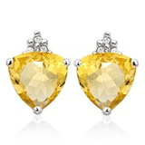 1.4 CARAT CITRINE 10K SOLID WHITE GOLD TRILLION SHAPE EARRING WITH 0.03 CTW DIAMOND