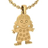 Little Baby Girl Gold MADE IN USA Charm Necklace 14K Yellow Gold MADE IN ITALY