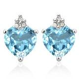 1.35 CARAT SKY BLUE TOPAZ 10K SOLID WHITE GOLD HEART SHAPE EARRING WITH 0.03 CTW DIAMOND