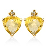 1.4 CARAT CITRINE 10K SOLID YELLOW GOLD TRILLION SHAPE EARRING WITH 0.03 CTW DIAMOND